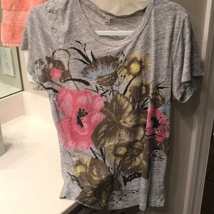 J Crew Graphic Tee Floral Size L